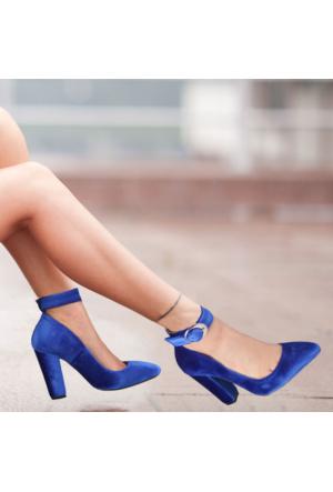İnce Topuk Saks Mavisi Kadife Kalın Topuklu Ayakkabı