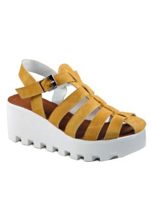 İnce Topuk Hardal Sandalet