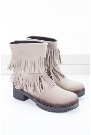 Shoes&Moda Kadın Bayan Bot Vizon
