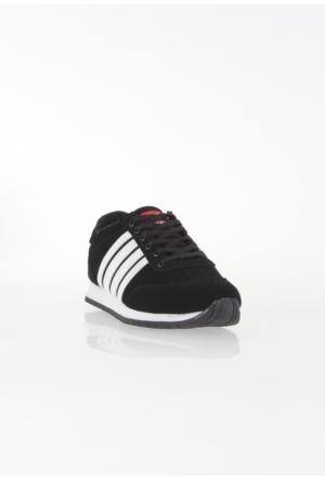 Erbilden Spr Siyah Beyaz Çizgili Bağcıklı Erkek Spor Ayakkabı