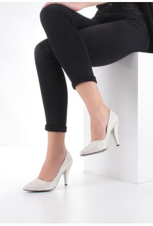 Erbilden Erb Gümüş Cilt Bayan Stiletto Ayakkabı