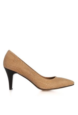 UK Polo Club 64703 Kadın Topuklu Ayakkabı Bej Yılan
