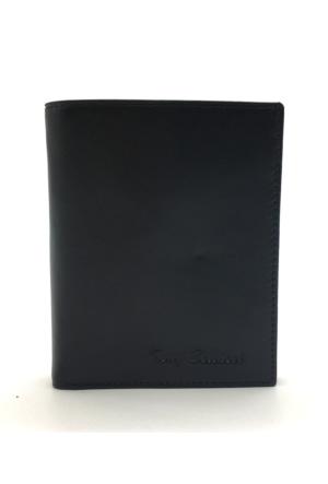 Tony Bellucci T136-999 Siyah Gerçek Deri Dik Erkek Cüzdan