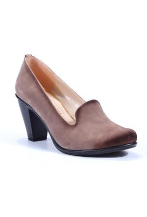 Sezen Süet Dekolte Topuklu Bayan Ayakkabı