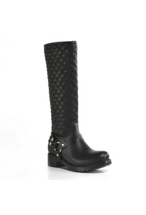 AHS Collection Siyah Diz Altı Su Geçirmez Kadın Yağmur Çizmesi
