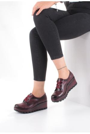 Erbilden Tua Bordo Cilt Bağcıklı Kadın Dolgu Topuk Ayakkabı