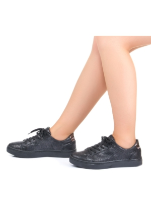 Modabuymus Siyah Piton Bağcıklı Bayan Spor Ayakkabı