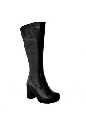 Mammamia D15Kc-2050 Deri Kalın Topuklu Kadın Çizme Siyah