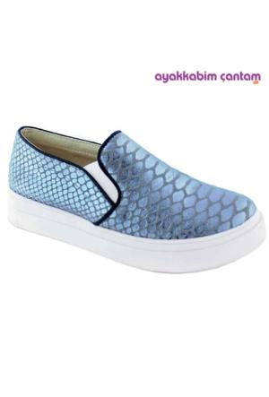 Ottimo 03207 Yılan Deri Baskı Kadın Ayakkabı Gümüş