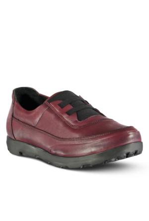 Marjin Toro Dolgu Topuklu Deri Ayakkabı Bordo