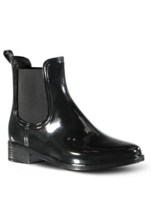 Marjin Marle Düz Yağmur Botu Siyah