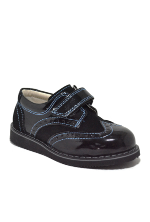 Raker Siyah Rugan Cırtlı Klasik Erkek Bebek Ayakkabısı