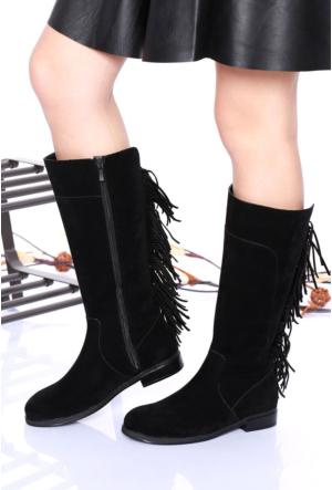 Ony Shoes Siyah Süet Arkası Püskül Bayan Çizme-7001