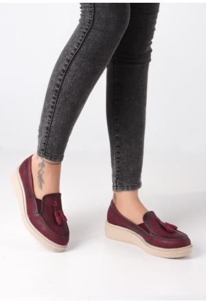 Erbilden Mir Bordo Cilt Püsküllü Kadın Ayakkabı