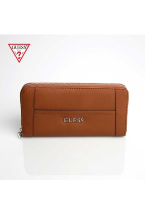Guess Cüzdan Swvy45 35460 Delaney Slg Large Zip Around Cognac