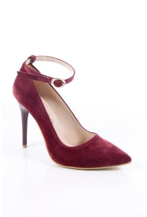 Shoes&Moda 509-1017-1015-Bl Bordo Süet Kadın Stiletto Ayakkabı