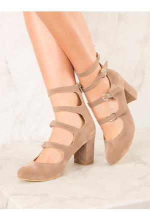 Mecrea Exclusive Martha Vizon Süet Çok Bantlı Dekolte Topuklu Ayakkabı