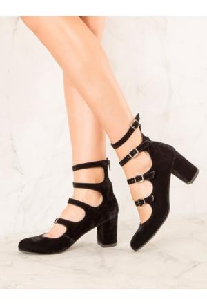 Mecrea Exclusive Martha Siyah Süet Çok Bantlı Dekolte Topuklu Ayakkabı