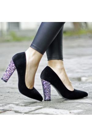 İnce Topuk Siyah Süet Kalın Simli Topuk Stiletto
