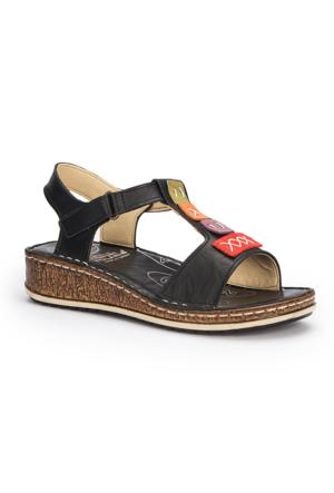 Polaris 5 Nokta 71.109699.Z Siyah Kadın Deri Sandalet