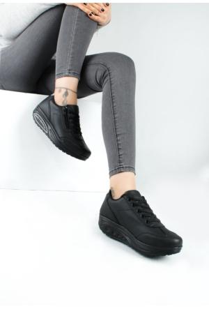 Erbilden Akk Siyah Cilt Kadın Dolgu Taban Spor Ayakkabı