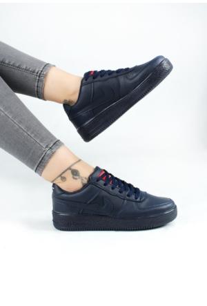 Erbilden Akk Lacivert Cilt Kadın Bağcıklı Spor Ayakkabı