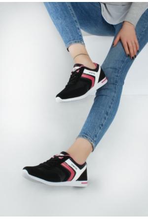 Erbilden Akk Siyah Cilt Nubuk Desenli Kadın Spor Ayakkabı