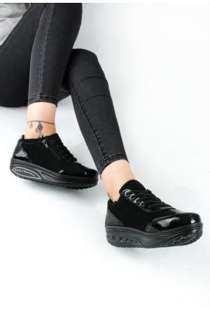 Erbilden Akk Siyah Nubuk Rugan Kadın Dolgu Taban Spor Ayakkabı