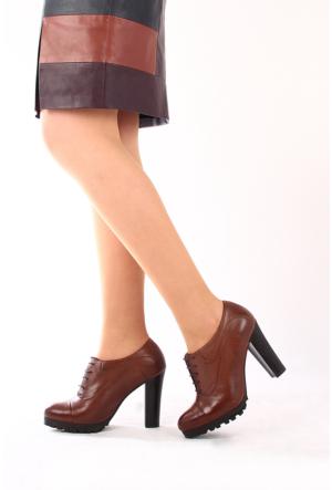 Gön Deri Kadın Ayakkabı 23138 Vizon Antik