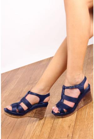 Gön 25836 Lacivert Antik Deri Kadın Sandalet