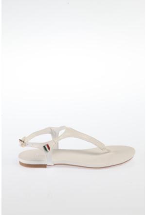 Simoty Kadın Beyaz Topuksuz Sandalet