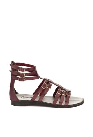 Simoty Kadın Kırmızı Topuksuz Sandalet