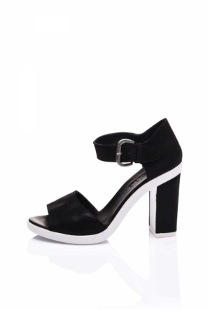 Bueno Black Satin White Sandalet