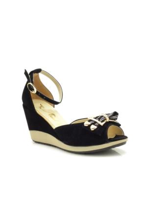 Lady Sweet Siyah Süet Dolgu Topuk Kadın Ayakkabı