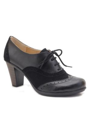 Lady Sweet Siyah Oxford Topuklu Kadın Ayakkabı