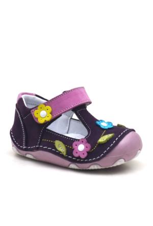 Hakiki Deri Mor Cırtlı Ortopedik İlk Adım Kız Bebek Ayakkabı