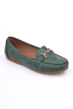 Zerrin Shoe Yeşil Tokalı Kadın Babet-609883