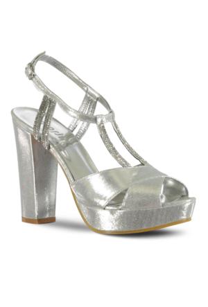 Marjin Manes Platform Topuk Abiye Ayakkabı Gümüş
