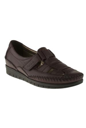 Forelli 23407-1 Tek Cırt Comfort Bordo Kadın Ayakkabı