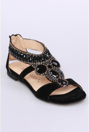 Sms Siyah Nubuk Kadın Sandalet-2584