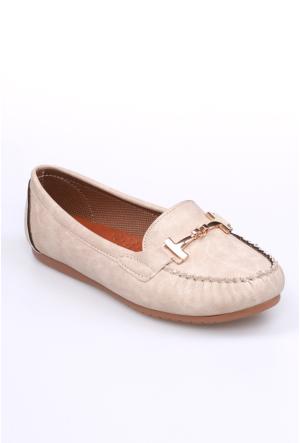 Zerrin Ayakkabı Bej Tokalı Kadın Babet-609883