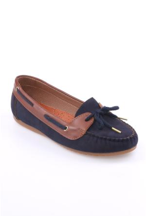 Zerrin Ayakkabı Lacivert Süet Bağcıklı Kadın Babet-609118
