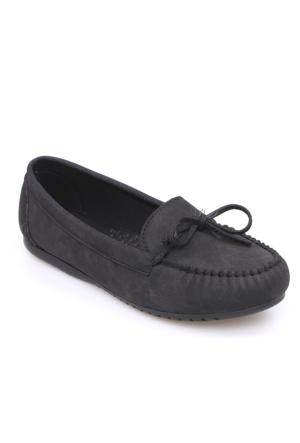 Zerrin Ayakkabı Siyah Nubuk Tek İğne Kadın Babet-609991