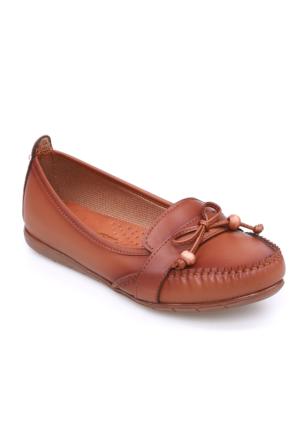 Zerrin Ayakkabı Taba Boncuklu Kadın Babet-112715