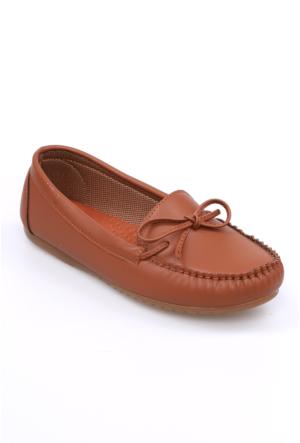 Zerrin Ayakkabı Taba Tek İğne Kadın Babet-609991