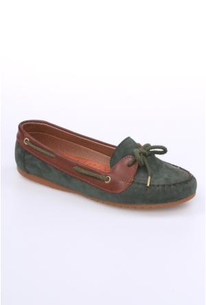 Zerrin Ayakkabı Yeşil Süet Bağcıklı Kadın Babet-609118