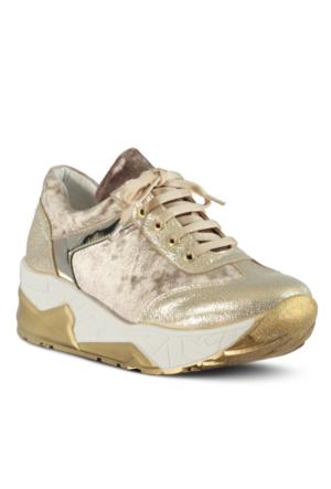 Marjin Melden Dolgu Spor Ayakkabı Pudra Altın