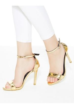 Mecrea Katty Altın Ayna Topuklu Sandalet