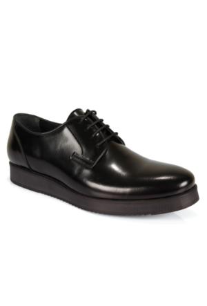 Shalin 1860 Siyah Açma Hakiki Deri Bağcıklı Erkek Ayakkabı