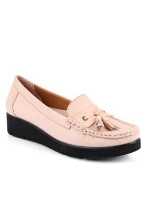 İloz 240109 Pudra Hakiki Deri Günlük Bayan Ayakkabı